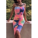 Womens Unique Tie Dye Print Ruched Midi Tube Bodycon Dress in Multicolor (Pictures for Reference)