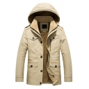 Men's Solid Casual Winter Warm Long Sleeve Button Front Fleece Lined Thick Hooded Jacket Padded Coat