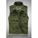 Army Green Long Sleeve Lapel Sleeveless Raw Edge Button Front Slim Fit Teen Jean Vest Waistcoat