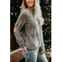 Ladies Simple Cut Out Long Sleeve Round Neck Regular Grey Pullover Sweater