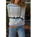 Womens Regular Stylish Diamond Pattern Long Sleeve Cable Knit Grey Fair Isle Sweater