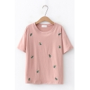 Womens Lovely Bee Embroidery Round Neck Short Sleeve Casual Loose Pullover T-Shirt