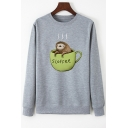 Cute Bradypod Cup Letter SLOFFEE Printed Long Sleeve Round Neck Casual Pullover Sweatshirt