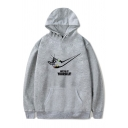 Creative Letter JUST DO IT YOURSELF Printed Long Sleeve Gray Boxy Graphic Hoodie
