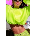 Womens Trendy Solid Color Round Neck Long Sleeve Drawstring Hem Cropped Pullover Sweatshirt