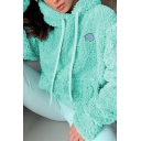 Women Warm Embroidery Letter Long Sleeve Plain Fluffy Sherpa Fleece Drawstring Hoodie with Pocket