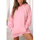 Stylish Womens Plain Pink Long Sleeve Loose Fit Longline Pullover Drawstring Hoodie
