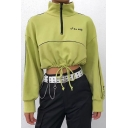 Stylish Green Embroidery Letter Stand Up Collar Half Zip Drawstring Hem Cropped Sweatshirt