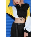 Fashionable Snap Button Front Colorblock Batwing Long Sleeve Drawstring Hem Cropped Sweatshirt