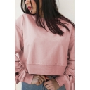 Girls Sweet Style Plain Pink Side Tied Long Sleeve Crew Neck Loose Cropped Sweatshirt