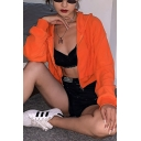 Ladies Simple Orange Solid Color Long Sleeve Zip Up Plush Cropped Hoodie