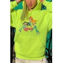Lovely Cartoon Character Printed Fluorescent Green Long-Sleeved Drawstring Loose Hoodie with Pocket