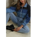Womens Fashionable Color Block Panel Long Sleeve Zipper Denim Cropped Jacket Coat