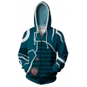 Unisex Casual Long Sleeve Drawstring Hood Zip Up Cosplay Costume Green Hoodie