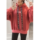 Harajuku Style Letter Print Long Sleeve Loose Casual Thick Hooded Hoodie for Girl