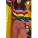 Girls Chic Rainbow Color Block Turtle Neck Long Sleeve Oversided Pullover Sweater