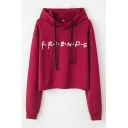 Hot Popular Letter FRIENDS Print Long Sleeve Loose Fit Sport Drawstring Hoodie