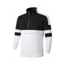 Mens Regular Black & White Panelled Stripe Long Sleeve Stand Collar Half Zip Pullover Sweatshirt
