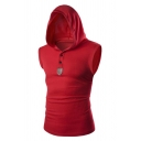 Mens Casual PU Panelled Button Front Sleeveless Fitted Sportive Hoodie Vest