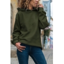 Womens Fashion Long Sleeve Regular Fit Solid Color Hooded Pullover Hoodie