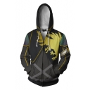 Mens Fashion Golden Eagle 3D Printed Long Sleeve Zip Up Casual Cosplay Hoodie