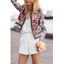 Womens Fashionable Tribal Floral Print Long Sleeve Open Front Short Casual Jacket Coat