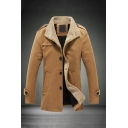 Mens Casual Lambswool Patched Lapel Collar Buttoned Epaulets Long Sleeve Single Breasted Khaki Longline Wool Trench Coat