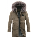 New Stylish Faux Fur Hood Long Sleeve Zip Up Plain Longline Warm Coat with Pocket