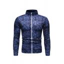 Mens Active Blue Floral Printed High Collar Stripe Long Sleeve Full Zip Slim Fit Sport Jacket