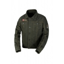 Stylish OUTDOOR FASHION Letter Embroidery Long Sleeve Single Breasted Multi Pockets Short Military Jacket