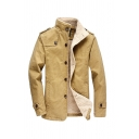 Winter Warm Khaki High Neck Epaulet Long Sleeve Button Down Casual Mid-Length Thick Jacket