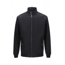 Mens Classic Solid Color High Collar Long Sleeve Flap Pocket Zip Up Harrington Jacket