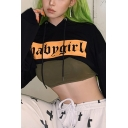Hip-Hop Black Stylish BABYGIRL Letter Front Long Sleeve Cropped Loose Drawstring Hoodie