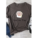 GIVE ME FIVE Lovely Cat Claw Printed Short Sleeve Cute Oversized Tee Top for Girls