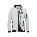 Mens Stylish Stand Collar Long Sleeve Applique Letter Tape Ribbon Topstitching Decoration Slim Fit Zipper Jacket