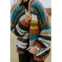 Womens Stylish Tribal Multicolor Striped Printed Long Sleeve Open Front Chunky Knit Cardigan Coat