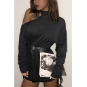 Womens Sexy Cutout Shoulder Long Sleeve Mock Neck Drawstring Pleated Side Black Cashmere Mini Shift Dress