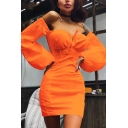 Womens Sexy Plain Front Tie Off the Shoulder Lantern Sleeve Mini Fitted Dress for Club
