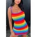 Womens Sexy Rainbow Striped Printed Tie Strap Casual Mini Bodycon Slip Dress