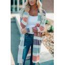Womens Stylish Colorful Wide Stripe Printed Long Sleeve Open Front Duster Cardigan