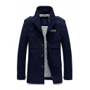 Mens Simple Notched Collar Long Sleeve Button Down Dark Blue Cargo Jacket Tunic Trench Coat