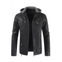 Mens Casual Long Sleeve Zip Up Slim Fit Short PU Leather Jacket with Detachable Hood