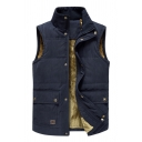 Mens Fashionable Navy Blue Stand Up Collar Snap Button Front Thick Padded Vest Outdoor Coat