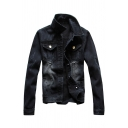 Mens Fashionable Single Breasted Slim Fit Black Basic Denim Jacket Coat