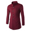 Mens Casual Plain Stand Up Collar Single Breasted Long Sleeve Longline Wool Coat