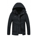 Mens Winter Fashionable Black Long Sleeve Zip Up Tunic Puffer Down Coat Jacket with Hood