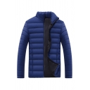 Mens Fashionable Plain Blue Long Sleeve Stand Collar Slim Fit Casual Lightweight Down Jacket Coat