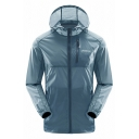 Mens Sportive Letter Printed Plain Elastic Cuff Zip Placket Blue Lightweight Track Jacket Outdoor Hooded Coat