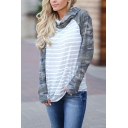 Womens Chic Camo Patched Long Sleeve Striped Printed Regular Fit Hooded Casual Hoodie