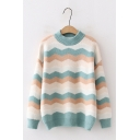Womens Cute Zigzag Stripe Printed Round Neck Long Sleeve Relaxed Loose Knitted Jumper Sweatshirt